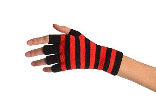 Red & Black Stripes Short Fingerless Gloves - Rouge Gants Taille Unique (16 cm)