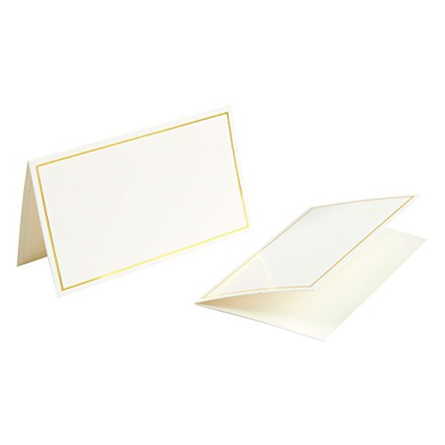 Pack of 100 Place Cards - Small Tent Cards with Gold Foil Border - Perfect for Weddings, Banquets, Events, 2 x 3.5 Inches by Best Paper Greetings (Image #7)