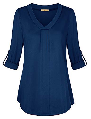 Baikea 3/4 Sleeve Chiffon Blouse, Women Cross Neckline High Low Hem Pleat Front Tops Cuffed Button Detail Flattering Cut Cotton Knitted Fashionable Shirts Ocean Blue XL ()