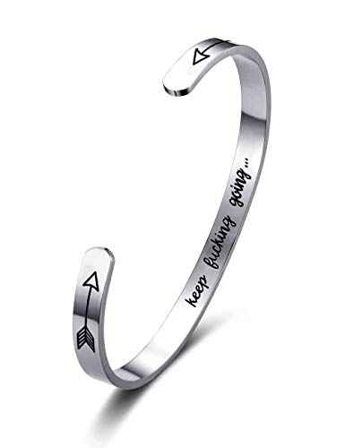 ALLY-MAGIC Cuff Bracelet Inspirational Jewelry Gifts for Women Bangle Stainless Steel Engraved Personalized Birthday Gifts for Best Friends Sisters Mom Girls Men B6191Z1 (Keep Fking Going)