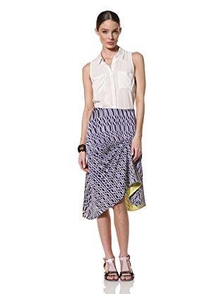 Pringle of Scotland Chain Print A-Line Skirt, Light Indigo, 8
