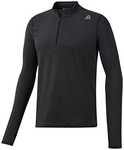 Reebok Running Essentials Long Sleeve 1/4 Zip Shirt, Black, Medium