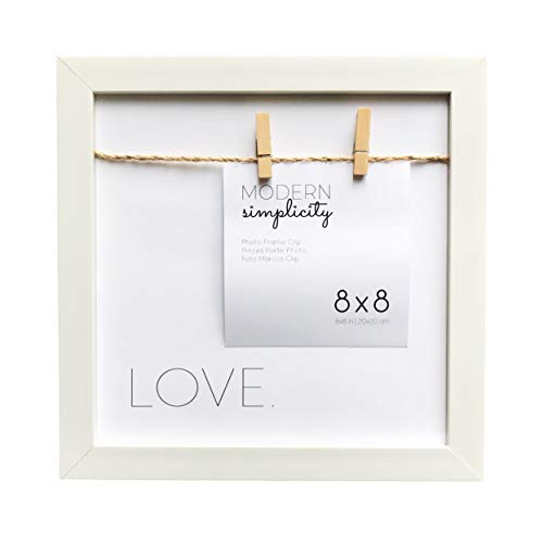 Modern White Love Clothespin Hanging Picture Display Frame, fits Instagram and 4x6 up to 8x8 Photos, Solid Wood for Wall and Tabletop