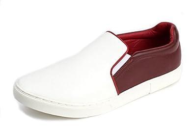 Hombre Sin Cordones Casual Plano Alpargatas Zapatos Italiano Moda Verano Zapatillas De Lona Conducción Mocasines - Blanco/Rojo, 41: Amazon.es: Zapatos y ...