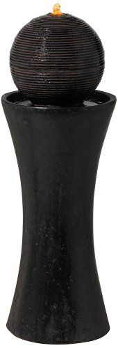 Dark Sphere Pillar 35 1/2'' High Floor Fountain by John Timberland