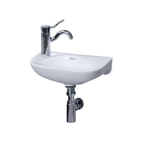 Whitehaus WH1-102L-WH Isabella 16-1/4-Inch Small Wall-Mount Lavatory Basin with Center Drain and Left-Hand Faucet Drilling, White