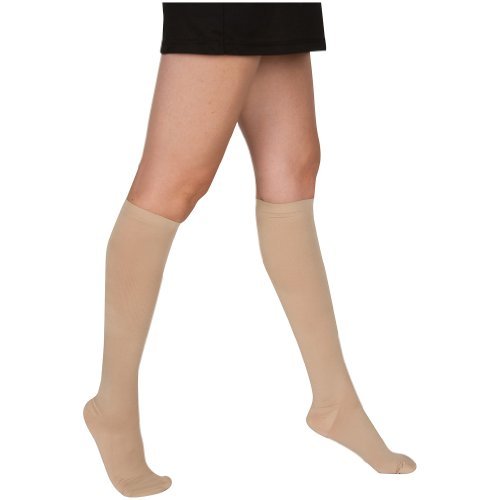 EvoNation Women's USA Made Graduated Compression Socks 20-30 mmHg Firm Pressure Medical Quality Ladies Knee High Support Stockings Hose - Best Comfort Fit, Circulation, Travel (Small, Tan Beige Nude) Photo #2