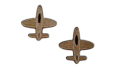 2 pieces Gold AIRPLANE Iron On Patch Fabric Aeroplane Transport Applique Motif Plane Decal 2.5 x 2.4 inches (6.3 x 6 cm)