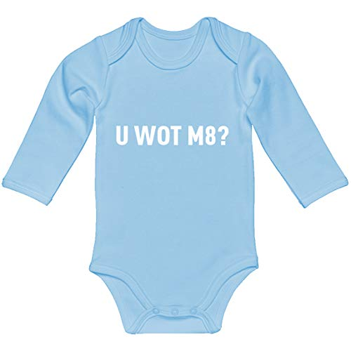 Indica Plateau Baby Romper U Wot M8 Light Blue for 6 Months Long-Sleeve Infant Bodysuit