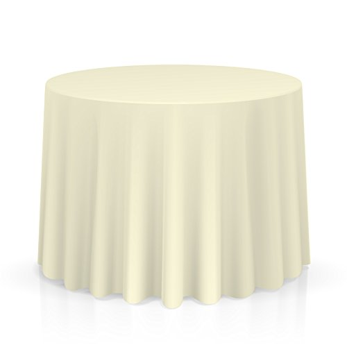 "Lanns Linens - 20 Premium 132"" Round Tablecloths for Wedding/Banquet/Restaurant - Polyester Fabric Table Cloths - Ivory"
