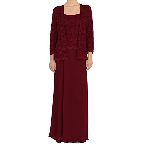 H.S.D Mother of The Bride Dress Chiffon Long Formal Gowns with Bolero Burgundy