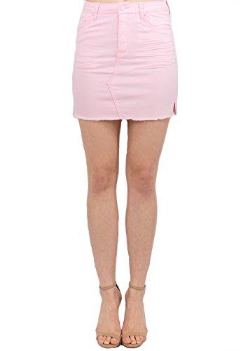 - TwiinSisters Women's Denim Mini Skirt with Comfort Stretch (Medium, Pink #rsk766)