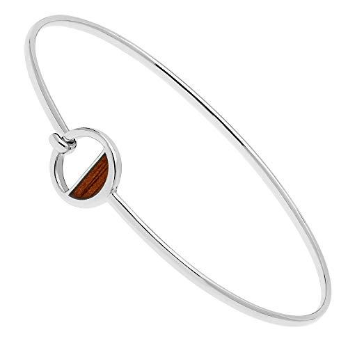 Ze Natural Willow Wood Inlayed Half Circle Bangle Bracelet