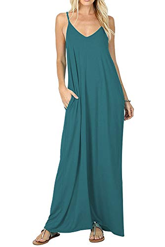 Boho Long Dress for Women Strappy Loose V Neck Maxi Beach Dresses (XL, Acid Blue) ()