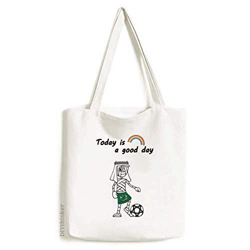 Saudi Arabia Soccer Player Cartoon Mummy Tote Canvas Bag Craft Washable Fashion Shopping Handbag