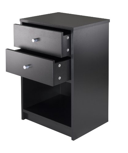 Winsome Ava Accent Table with 2-Drawer in Black Finish
