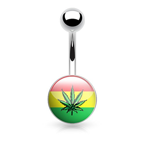 (Weed, Pot Leaf Picture LOGO RASTA Navel Belly Ring (316L) Surgical Steel 14g (1.6mm) Nickle Free (rasta colors))