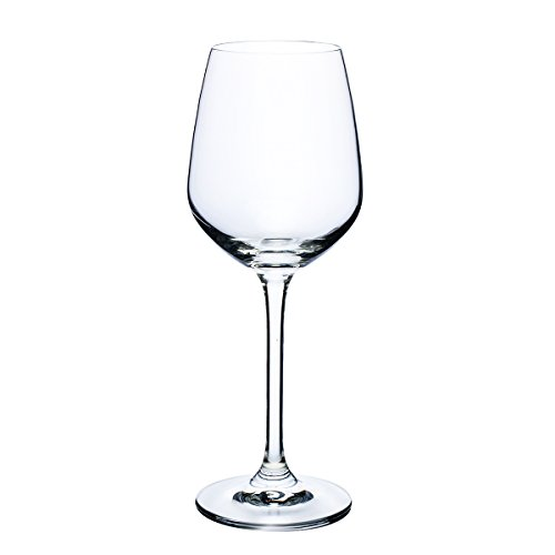TOPFUND Lead Free Fusion Crystal Stemware Collection Riesling White Wine Glass, 10-Ounce, Set of 6 pieces, 8 inches tall x 2.99 inches wide