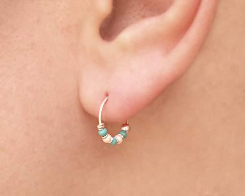10mm Sterling Silver Hoop Earrings, Turquoise and White Beaded Hoops, Handmade Hoops