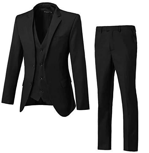 High-End Suits Men's Big and Tall Single Breasted Modern Fit 2 Button Notch Lapel Black Suit Jacket for Men