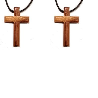 Olive Wood Cross Pendent Necklace Leather Cord Made in Bethlehem Set of -