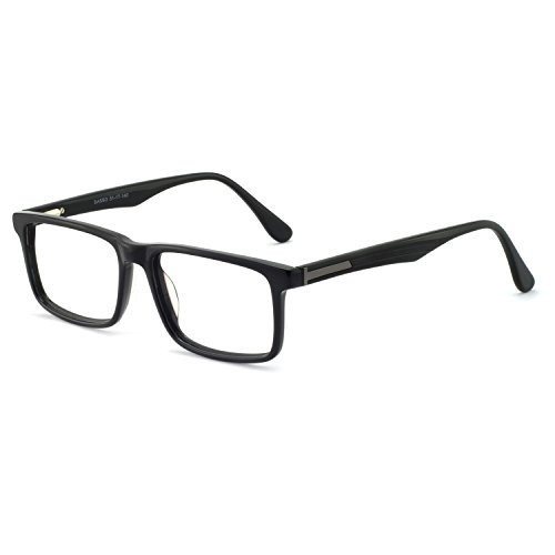 Eyeglasses 138 - OCCI CHIARI Mens Rectangle Fashion Stylish Acetate Eyewear Frame With Clear Lens (A-Black(54-18-145))