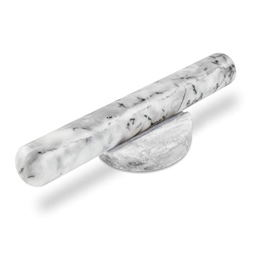 """AntTech Genuine Smooth Marble Rolling Pin Sits on Matte Base Weight with Large Comfort Grip Handles to Ease Effort -11.8"""" Length, White"""