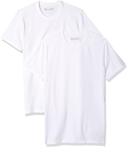 Under Armour Men's Cotton Stretch Crew Undershirt – 2-Pack,White (100)/White, Medium by Under Armour