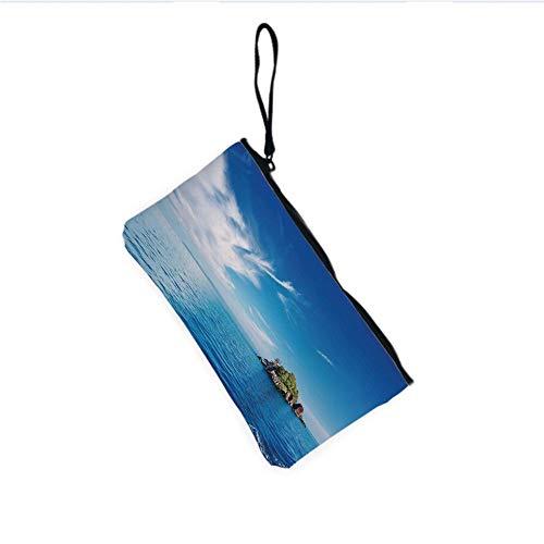 Canvas Coin Purse Zipper Coin Holder Mini Wallet Bags Cosmetic Makeup Bags,Archipelago Thailand Reef Rock Diving Trip Sunny