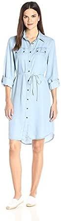 Ronni Nicole Womens 134771 3/4 Sleeve Tencil Shirt Dress Three-Quarter-Sleeve Dress - Blue