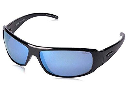 Revo Re 5010x Gunner Wraparound Polarized Wrap Sunglasses, Shiny Black Blue Water, 66 - Sunglasses Gunner