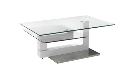Creative Images International Motion Collection Glass Top Coffee Table With Adjustable Configuration And A White Lacquer And Stainless Steel Base  White Lacquer
