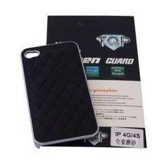 Avcibase Luxus KunstlederHard Case Hülle mit Schutzfolie für Apple iPhone 4/4S  schwarz
