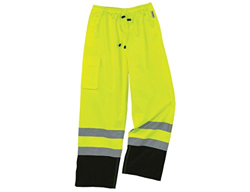 Ergodyne GloWear 8915BK ANSI Black Bottom High Visibility Lime Safety Rain Pants, 5XL by Ergodyne
