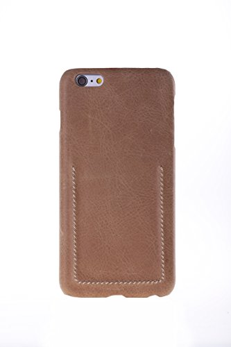 mcmadley Shockproof Scratch Resistant Leather Phone Case for iPhone 6 Plus/6S Plus, The Sahara with Stitch Natural Brown