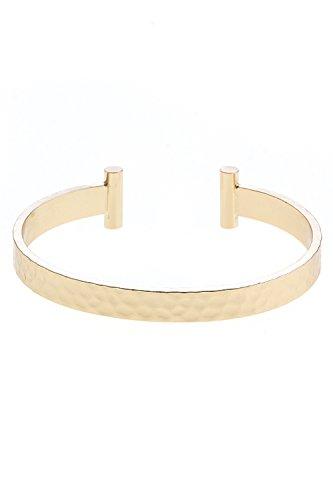 Bar Tip Hammered Gold Cuff Bracelet