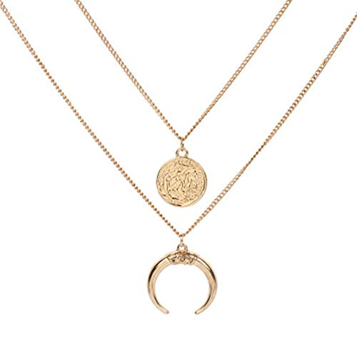 Aineecy Simple Double Layer Full Moon Crescent Pendant Necklace Women Charm Circle Round Disc Choker Necklace Adjustable Horn Clavicle Chain Necklace for Girl