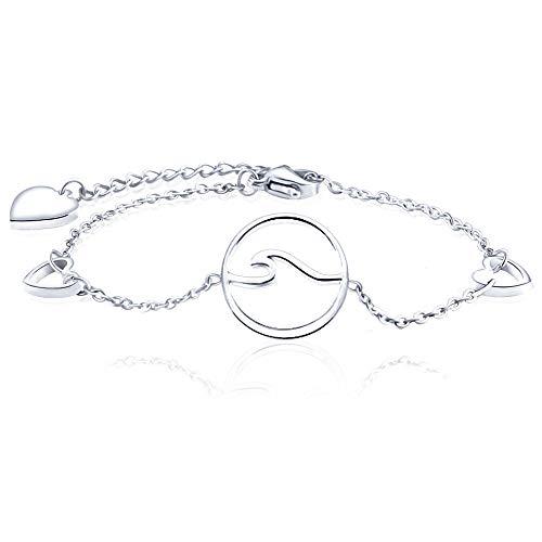 Seyaa Ocean Wave Dainty Link Bracelet for Women Girls Cute Heart Charm Silver Stainless Steel Adjustable Inspirational Bracelets Hypoallergenic Friendship Jewelry