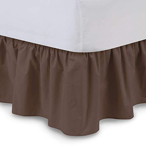 Aashi Rainwear 110 GSM Microfiber Bedskirt Sateen Finish Wrap with Platform Easy Fit Gathered Style 3 Sided Coverage Full-XL-15 Drop Chocolate
