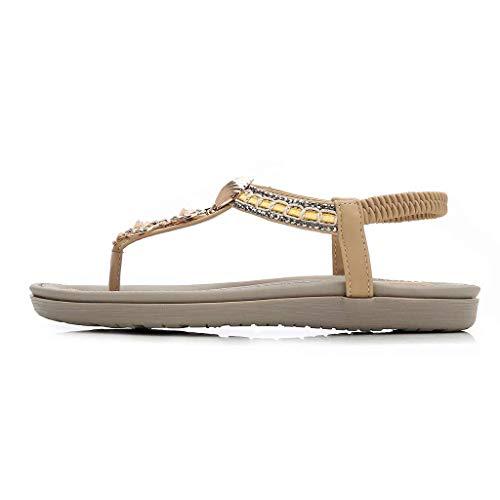 Kauneus Women's Rhinestone Flat Sandals Glitter Shoes Bohemian Summer Beach T-Strap Flip-Flops Thong Sandals Beige