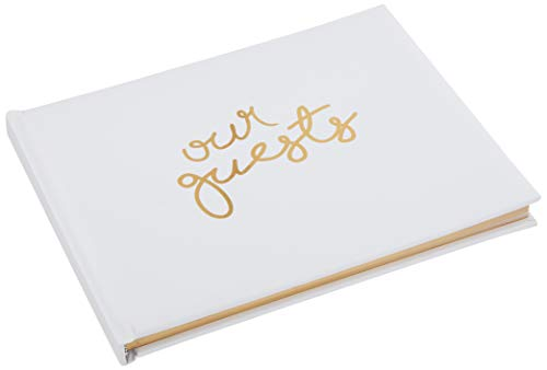 Wedding Guest Book | Perfect Bridal Registry for Signature & Messages | Best Shower Gift | Wedding Day Memory Book | Hard Cover with Gold Foil, 64 Gold Gilded Pages & Ribbon Bookmark | 7