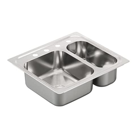 Moen G202714 2000 Series 20 Gauge Double Bowl Drop-In Sink, Stainless Steel (Moen Drop In Sink)