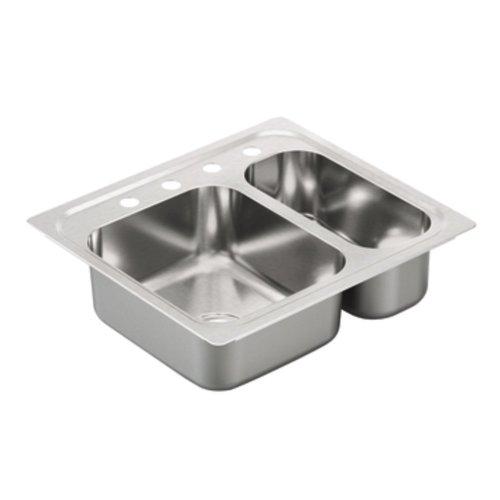 Moen G202714 2000 Series 20 Gauge Double Bowl Drop In Sink, Stainless Steel