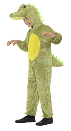 Smiffys Children's Unisex All In One Crocodile Costume, Jumpsuit with Hood, Party Animals, Ages 7-9, Color: Green and Yellow, -
