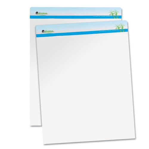 Universal Sugarcane Based Easel Pads, Unruled, 27 x 34, White, 50 Sheets/Pad, 2 Pads/Pack by Universal