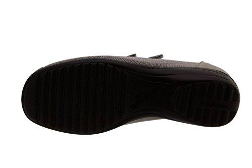 Calzado mujer confort de piel Piesanto 8989 zapato velcro plantilla extraíble cómodo ancho Visón