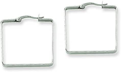 Stainless Steel 30mm Square Hoop Earrings