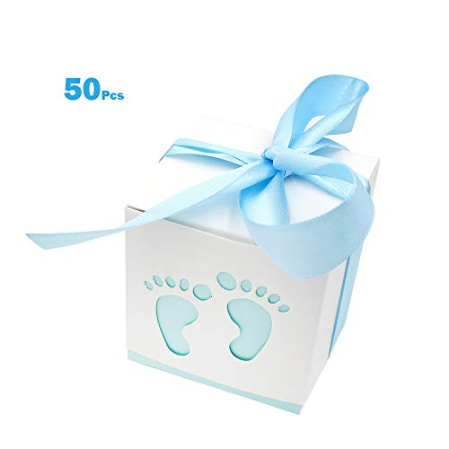 50 Pcs Cute Newborn Baby Footprints Candy Boxes with Ribbon Baby Shower Candy Box Party Table Decor Birthday Party Gift -