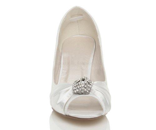 Damen Hochzeit Abend Brosche Hoher Absatz Kleiner Trichter Peep Toe Schuhe Größe Weiß
