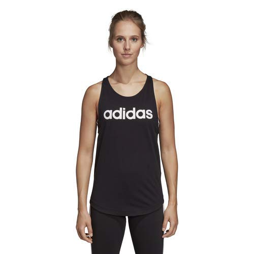 adidas Women's Essentials Linear Loose Tank Top, Black/White, Small
